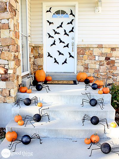 DIY Spiders and Bats Porch Decor-40+ Easy to DIY Halloween Decorating Ideas