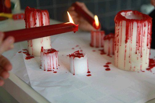 DIY bloody candles-40+ Easy to DIY Halloween Decorating Ideas