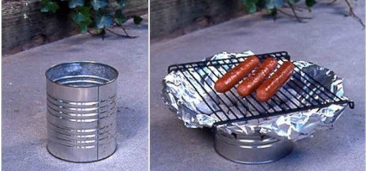 How to Make BBQ Grill Out of Tin Can - video