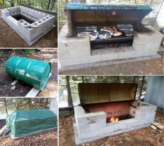 DIY Rotisserie CINDER BLOCK Metal Drum BBQ Pit Tutorial