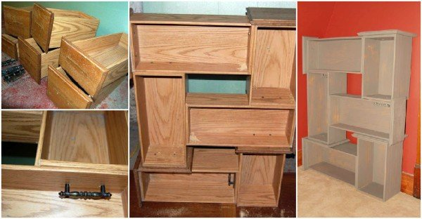 How to DIY Salvaged Shelf from Vanity Drawers - DIY Recycled Drawer Shelf