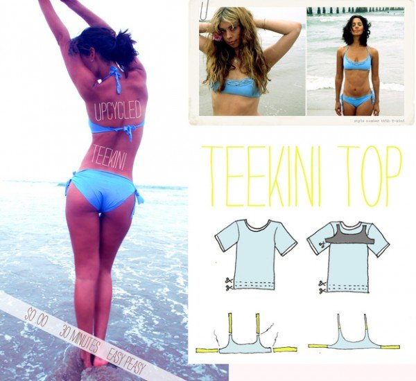 Turn an Old T-shirt into Bikini Set