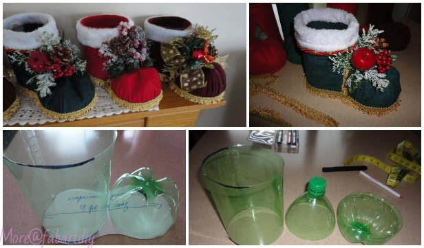 How to DIY Festive Santa Boots Out of Plastic Bottle Tutorial