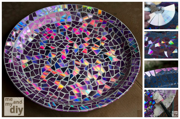 20+ Amazing DIY Ways to Recycle Your Old CDs - Recycled DVD Mosaic Birdbath