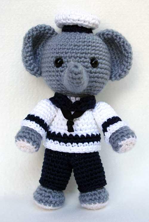 DIY Sailer Baby Elephant Crochet Amigurumi Free Patterns