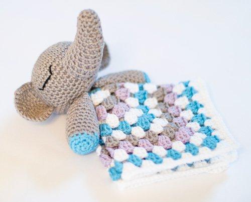 DIY Baby Elephant Lovey Blanket Crochet Free Pattern