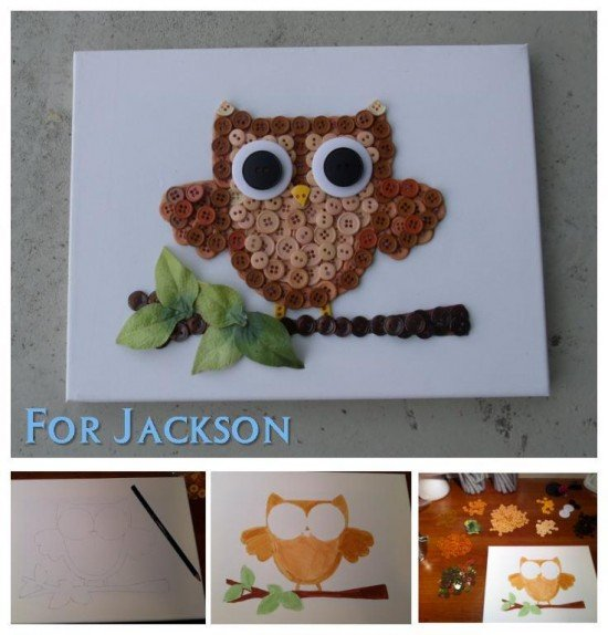 DIY Button Owl Canvas Wall Art Tutorial