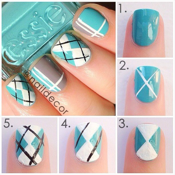 DIY Cute Argyle Nail Art Manicure