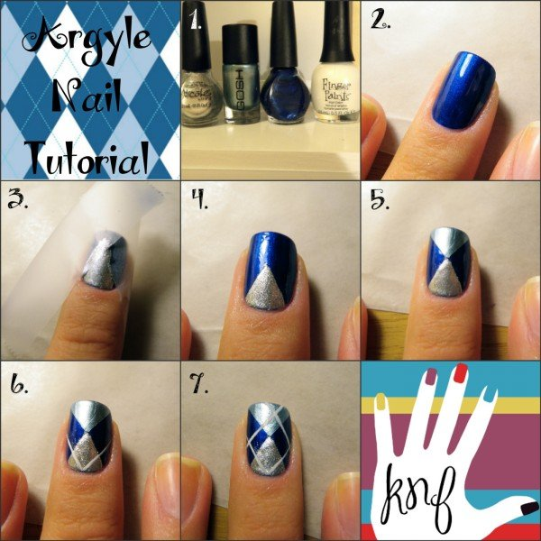 DIY Cute Argyle Nail Art Manicure