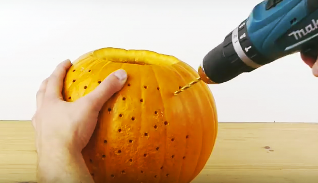 DIY Drilled Pumpkin Disco Ball light -video