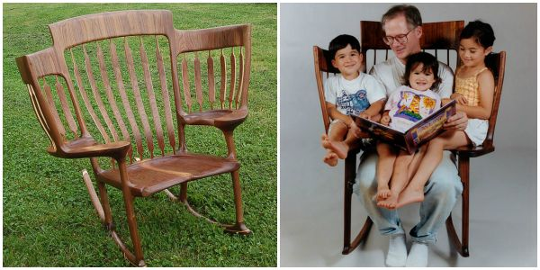 Triple Rocking Chair for Parent Kids Reading Time