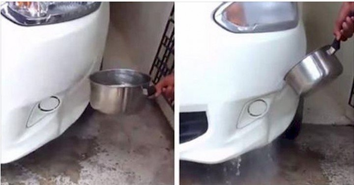 how to Fix Bumper Dent with Boiling Water - video