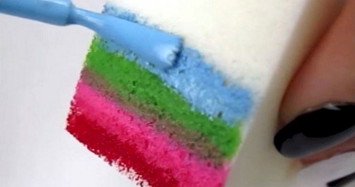 She Swipes A Rainbow Of Nail Polish Across A Sponge. When I See Why? I NEED To Try This!