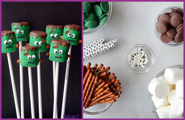 10 Fun and Sweet Halloween Treats DIY Ideas 02-Frankenstein Marshmallow Pops