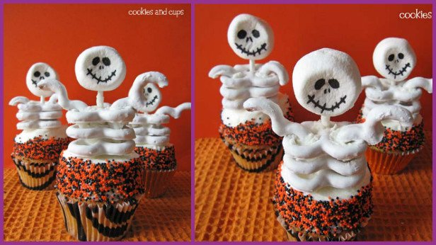 10 Fun and Sweet Halloween Treats DIY Ideas 04->SKELETON CUPCAKES