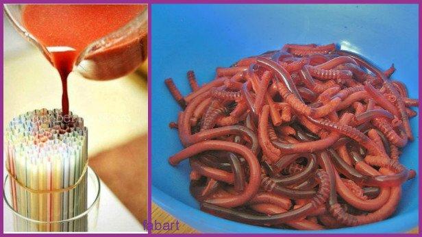 10 Fun and Sweet Halloween Treats DIY Ideas 05-Drinking straw worm jelly recipe