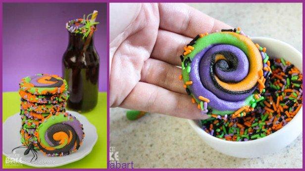 10 Fun and Sweet Halloween Treats DIY Ideas 07-Swirly Halloween Cookies