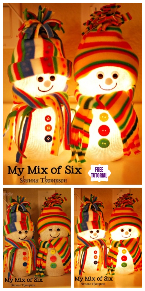 Christmas DIY Cute Fish Bowl Sock Snowman Lights Tutorial