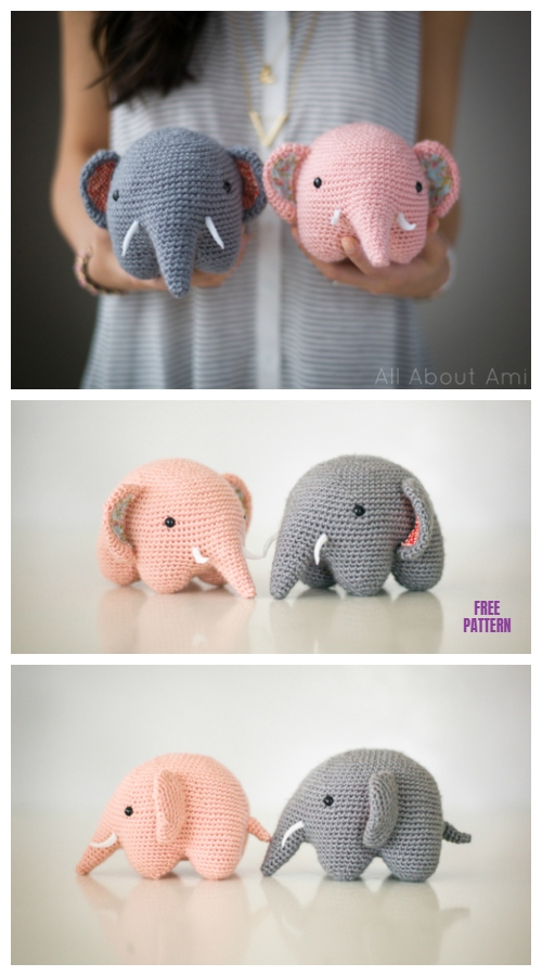 Crochet Sweet Elephant Amigurumi Free Pattern and Video Tutorial