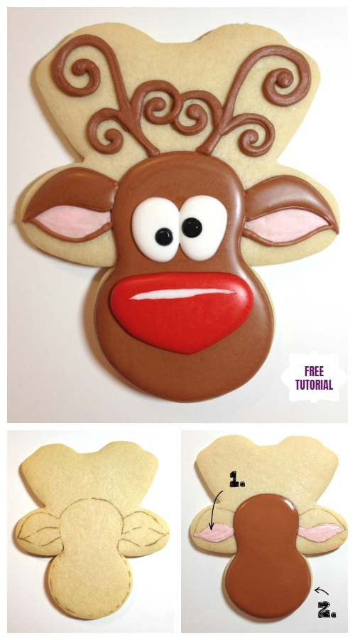 DIY Christmas Whimsical Reindeer  Cookies Tutorial