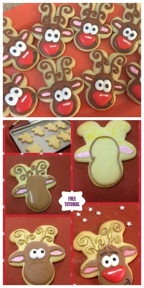 DIY Christmas Upside Down Gingerbread Cookie Cutter Reindeer Cookies Tutorials