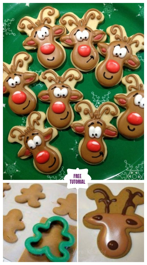 DIY Christmas Gingerbread Reindeer Cookies - Easy Tutorial