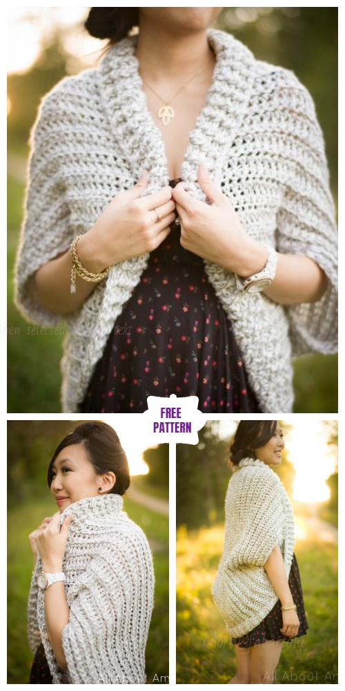 DIY Crochet Cardigan Sweater Coat Free Patterns- Easy Chunky Crochet Sweater Free Pattern