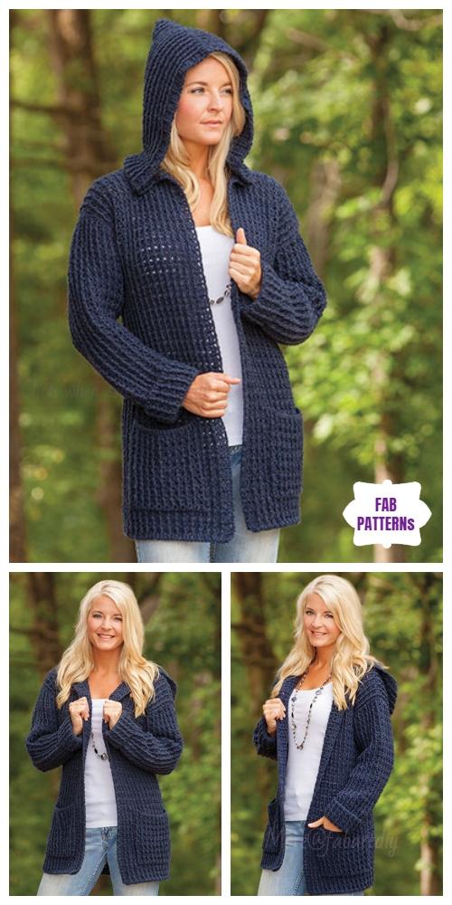 Crochet Hoodie Cardigan Paid Pattern