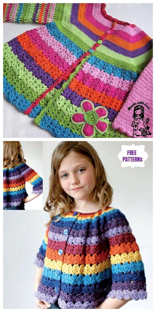 Crochet Girls Flower Cardigan Free Crochet Patterns