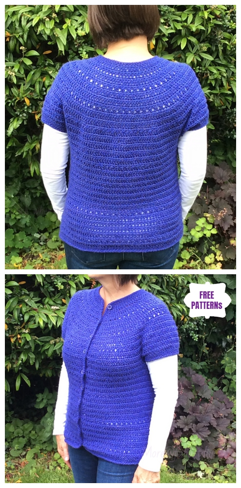 CrochetTop Down Round Yoke CardiganFree Crochet Pattern