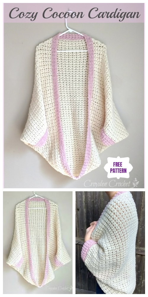 DIY Crochet Cardigan Sweater Coat Free Patterns- Crochet Cozy Cocoon Cardigan Free Crochet Pattern