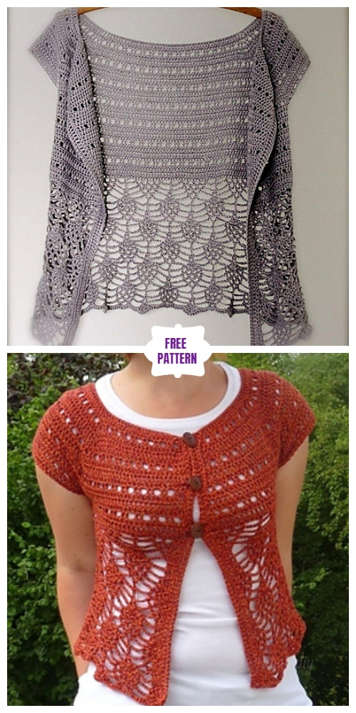 DIY Crochet Cardigan Sweater Coat Free Patterns-Crochet Cardigan Free Pattern