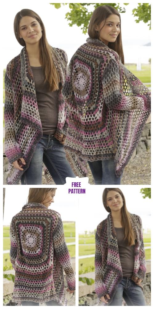 Crochet Lace Granny jacket Sweater free pattern