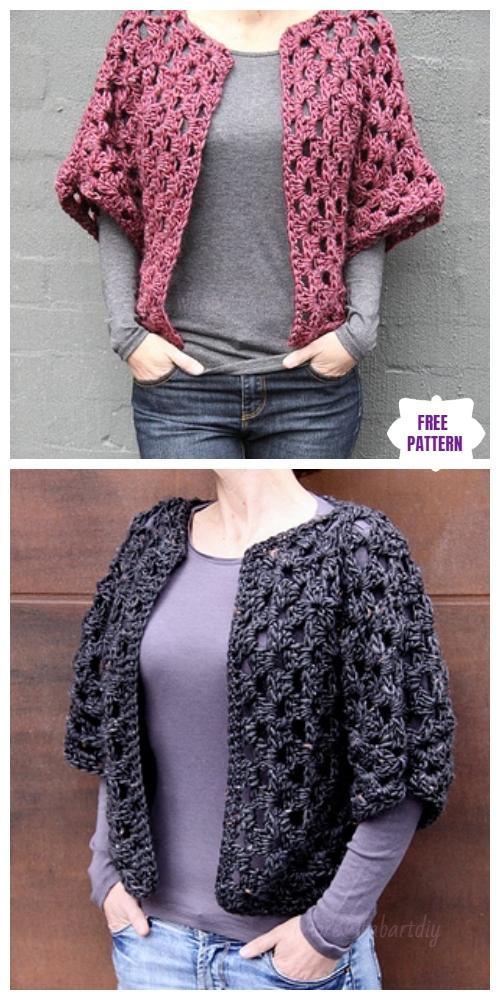 a2e9390e3 ... DIY Crochet Cardigan Sweater Coat Free Patterns-Crochet Granny Shrug Free  Pattern