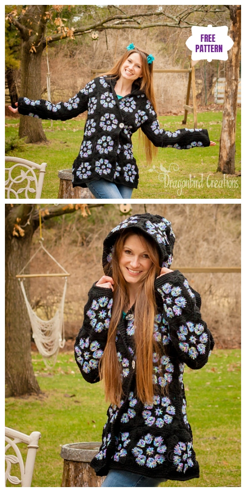 Crochet African Flower Hooded Jacket Free Crochet Pattern