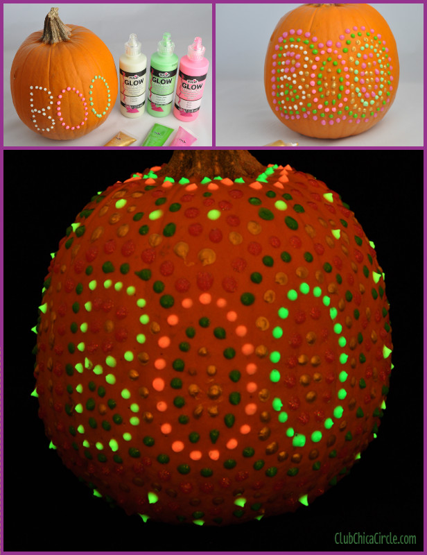 DIY Polka Dot Glow In The Dark Pumpkins Tutorial for Halloween