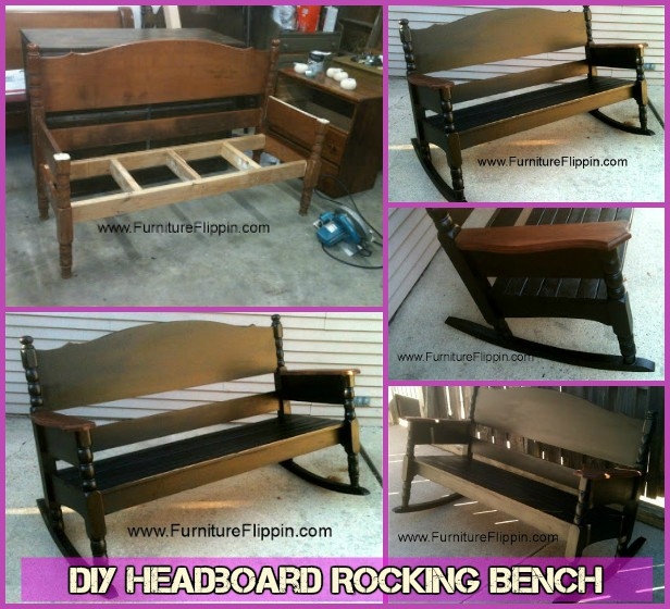 DIY Recycled Triple Headboard Rocking Bench Tutorial