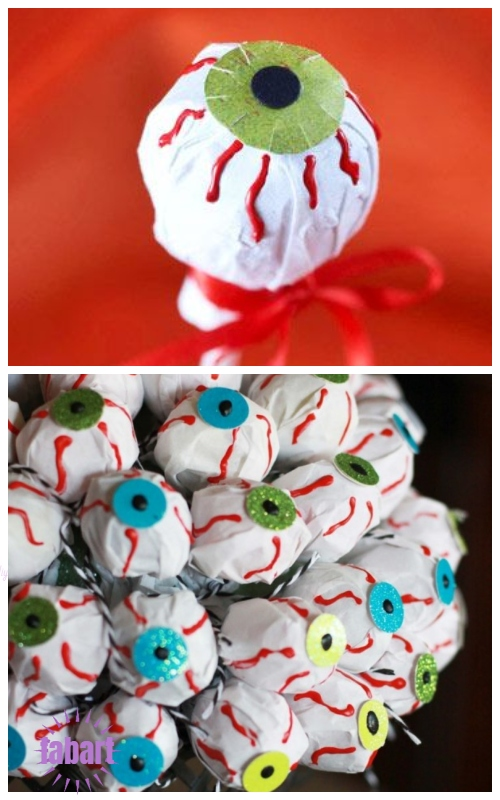 Halloween Lollipop Craft DIY Ideas & Tutorials - Halloween Candy Eyeball DIY Tutorial