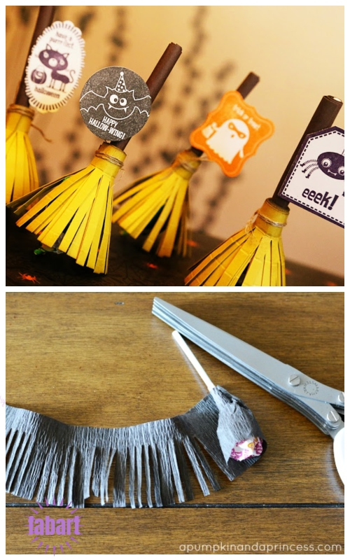 Halloween Lollipop Craft DIY Ideas & Tutorials - Witches Broomstick Lollipop Treat Holder DIY Tutorial