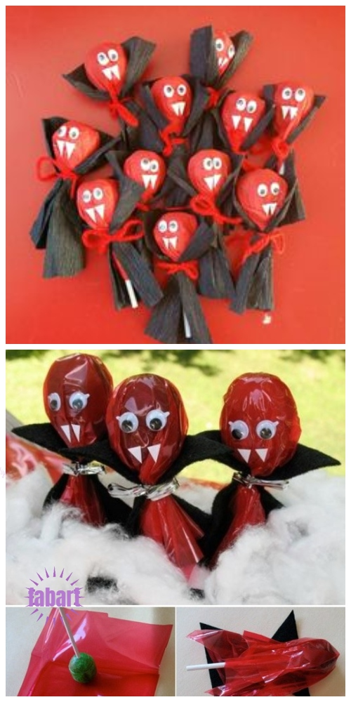 Halloween Lollipop Craft DIY Ideas & Tutorials - Lollipop Vampire Suckers DIY Tutorial