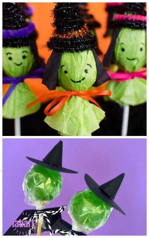 Halloween Lollipop Craft DIY Ideas & Tutorials - SLollipop Witches Suckers DIY Tutorial