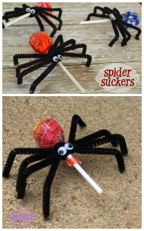 Halloween Lollipop Craft DIY Ideas & Tutorials - Spider LollipopSpider Suckers DIY Tutorial