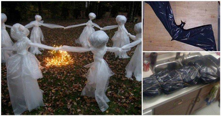 12 DIY Scary Trash Bag Halloween Decorations