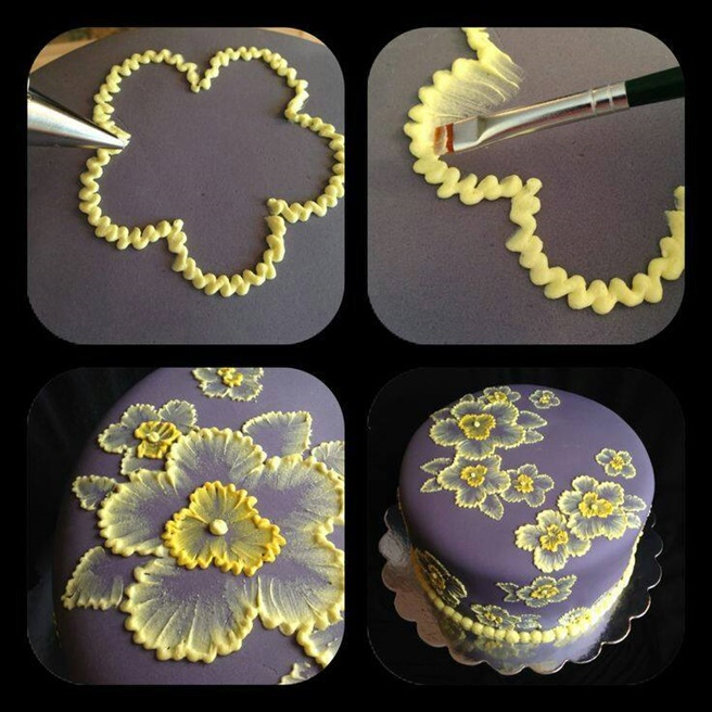 DIY Brush Embroidery Cake Icing Decorating Tutorial