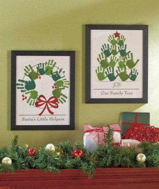 DIY Christmas Hand Print and Foot Print Art