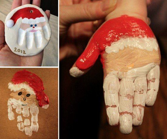 Diy christmas hand print and foot print art www for Hand and feet painting ideas