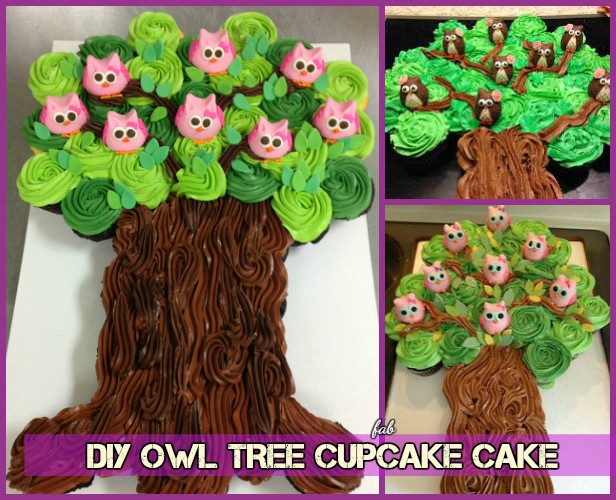 DIY Owl Cupcake Cake Tree Tower Recipe and Tutorial