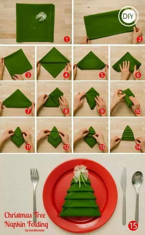 Diy christmas tree napkin folding video for 10 easy table napkin folding