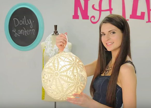She Covers This Balloon With Doilies. When She Pops It, I'm Surprised By What It Transforms Into - DIY Doily Chandelier