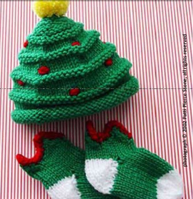 Crochet Christmas Tree Hat and Sock Set Free Pattern